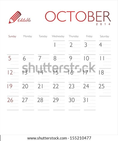 Vector calendar 2014 October - stock vector