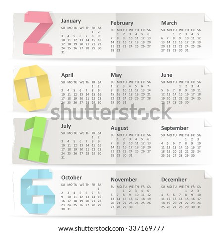 Vector calendar of 2016 year made of paper for notes. Weeks begin on Sunday. - stock vector