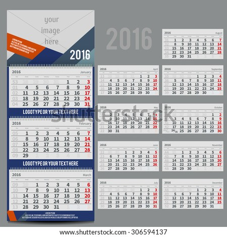 Vector calendar 2016 - Planner for three month includes space for your photo and text - stock vector