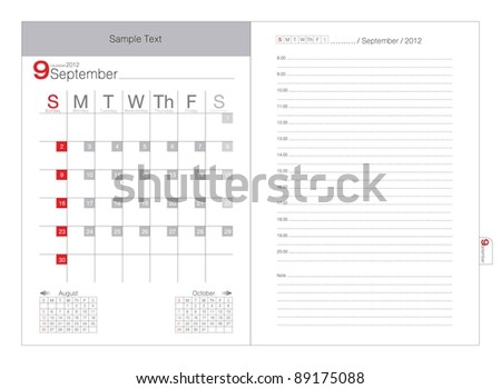 Vector Calendar 2012 September - stock vector