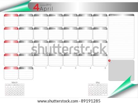 Vector Calendar Table 2012 April - stock vector