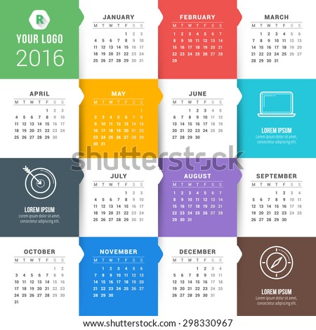 Vector Calendar Template. Calendar 2016. Week Starts Monday - stock vector