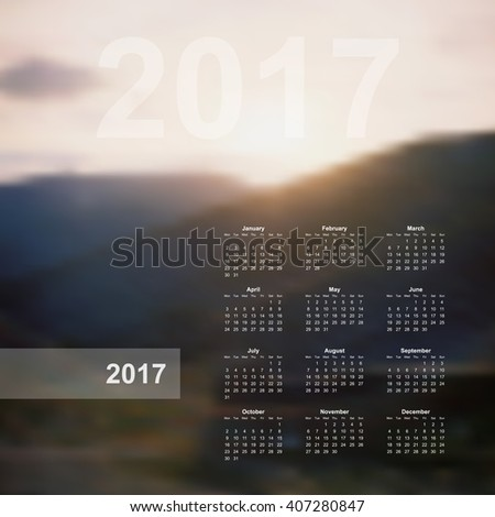 Vector calendar template. 2017 year. Blurred nature background. Week starts on Monday. Vector calendar template 2017, calendar page, wall calendar poster. Nature mountains vector background. - stock vector