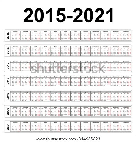 Vector calendars. 2015 2016 2017 2018 2019 2020 2021 years  - stock vector