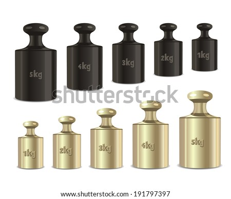 Vector calibration weights on a white background. - stock vector