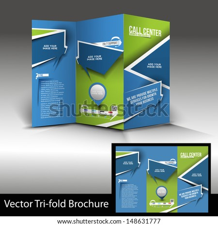 Vector Call Center Brochure Design Template - stock vector