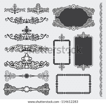 Vector calligraphic design elements and page decoration - stock vector