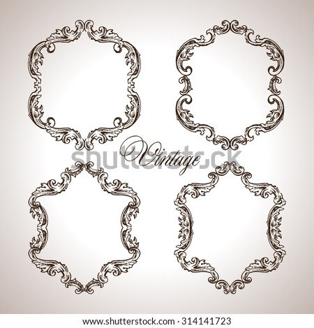 Vector calligraphic engraving frames set in antique style - stock vector