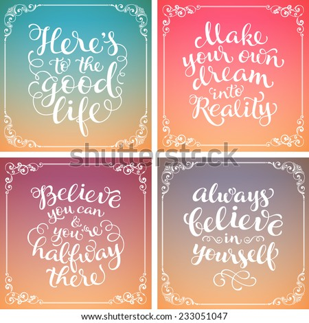 Vector calligraphic inscription on colorful background with ornamental elements. Lettering poster or postcard. Typography and calligraphy collection - stock vector