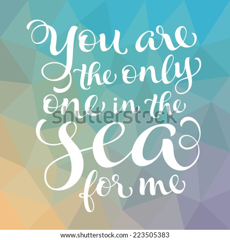 "Vector calligraphic inscription with ornamental elements on colorful geometric background. ""You are the only one in the sea for me"" poster or postcard. Typography collection - stock vector"