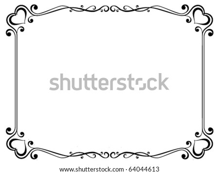 Vector calligraphy ornamental decorative frame with heart - stock vector