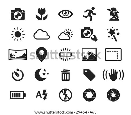 Vector camera functions & menu icons set // 01 - stock vector
