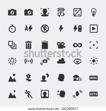 Vector camera functions mini icons set - stock vector