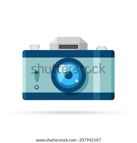 Vector camera icon. Flat style - stock vector