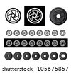 vector camera shutter apertures - stock vector