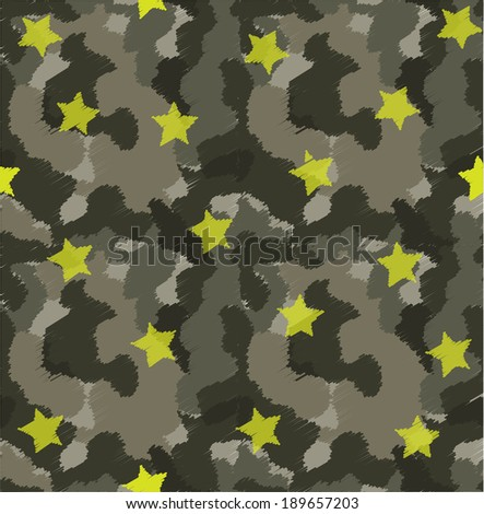 vector camouflage seamless pattern and stars - stock vector