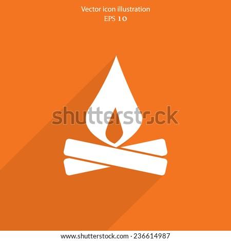 Vector campfire web icon. Eps 10. - stock vector