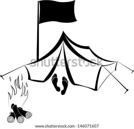 Vector Camping site with tent and burning campfire - stock vector