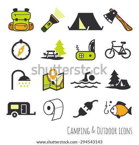 Vector camping theme set // Colour - stock vector