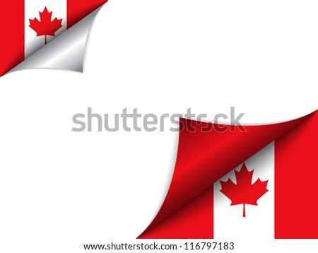 Vector - Canada Country Flag Turning Page - stock vector