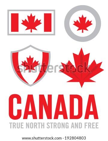 Vector Canadian Pride Logo and Icon Set - stock vector