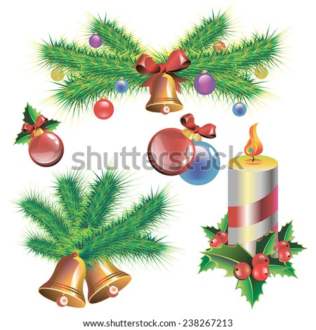 vector candle christmas illustration holiday symbol december - stock vector