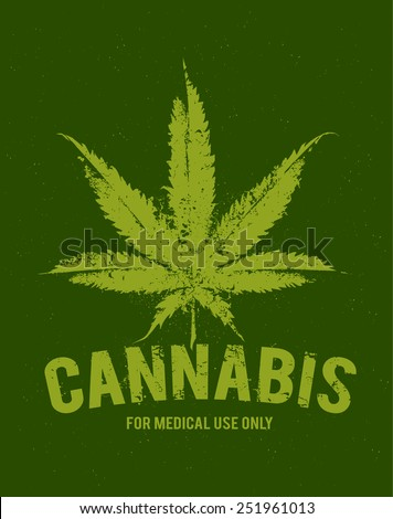 Vector cannabis grunge emblem. - stock vector