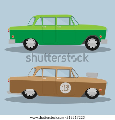 Vector Car and Hotrod. Eps 10 - stock vector