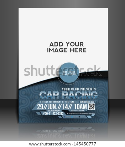 Vector Car Competition Flyer Magazine Cover & Poster Template. - stock vector