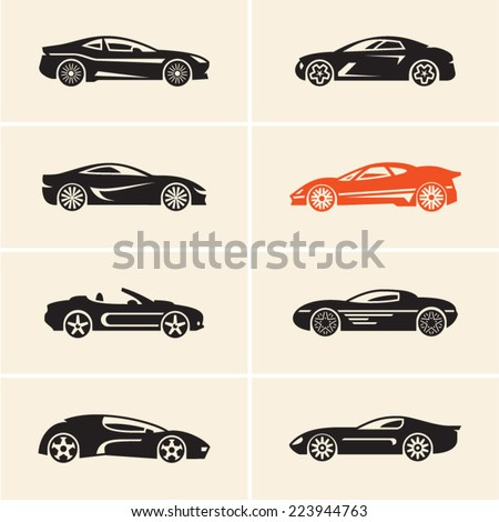 Vector car icons. Sport cars. - stock vector
