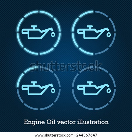 Vector car indicator icons blue engine oil - stock vector