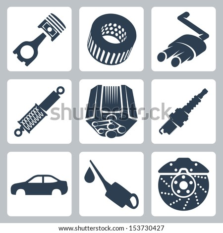 Vector car parts icons set - stock vector