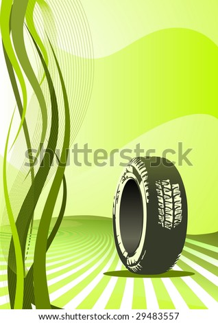 Vector car tire and place for your text - stock vector