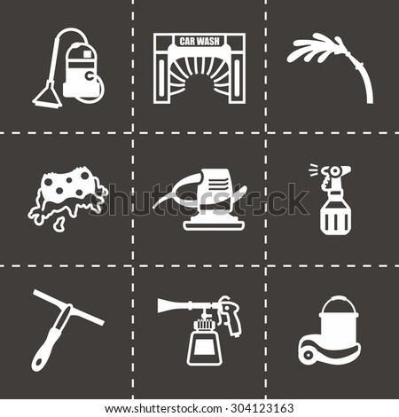 Vector Car wash icon set on black background - stock vector