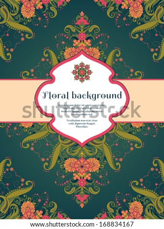 Vector card. Beautiful floral damask pattern in vintage style. Figured frame for your text. Perfect for greetings, invitations or announcements. Bright colors and dark background. - stock vector