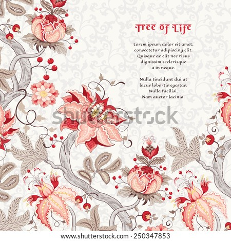 Vector card. Curved tree branch with fantastic flowers, leaves, tendrils and berries. The motives of the paintings of ancient Indian fabrics. Tree of Life collection. Place for your text. - stock vector