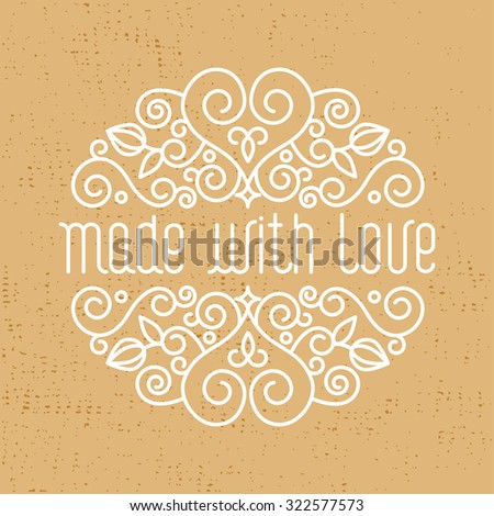 """Vector  card design template with hand lettering. Text """"made with love"""". Decorative element in trendy linear style. - stock vector"""