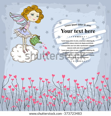 Vector Card for your design messages,text,copyspace,textspace with  flying in the sky cute fairy watering the text Happy Valentines Day of love heart,pink hearts on a blue background with stars.Banner - stock vector
