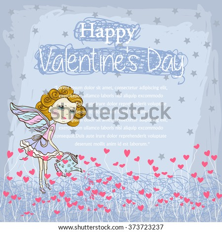 Vector Card for your design messages,text,copyspace ,textspace with  Little cute fairy watering the pink hearts on a blue background with stars and text Happy Valentines Day Happy .Banner. - stock vector