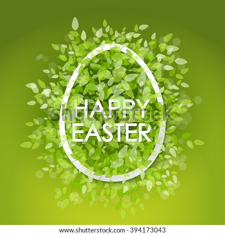 Vector card Happy Easter. Floral frame with leaves. Green background - stock vector