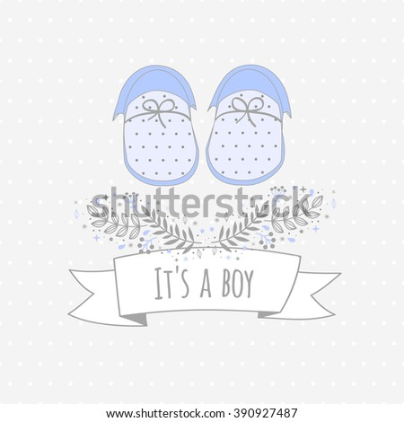 Vector card ITS A BOY with baby's booties. Background with dots. Floral tag - stock vector