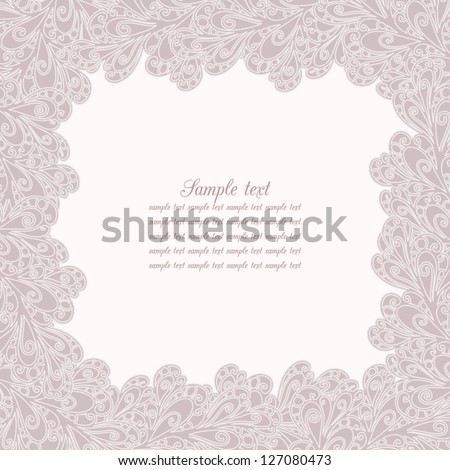 Vector card made of intricate pastel swirls. - stock vector