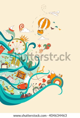 Vector card of dreams about travel and vacation - stock vector
