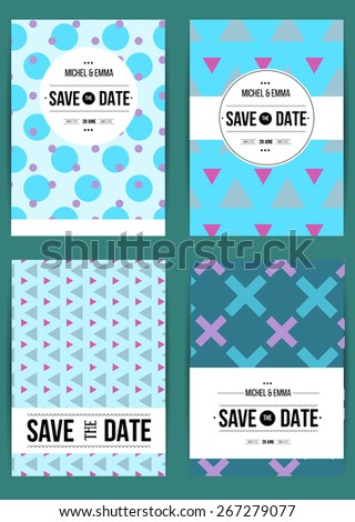 Vector card set templates. Abstract background illustration for Save The Date, baby shower, mothers day, valentines day, birthday cards, invitations and more.  - stock vector
