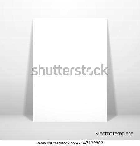 Vector card template. A white sheet (A4) of paper against the wall. Realistic shadow. - stock vector