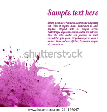 Vector card template with watercolor elements. Beautiful ink stain with your personalized text. - stock vector