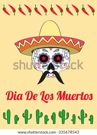 vector card with a decorated human skull in sombrero and text Dias de Los Muertos - stock vector
