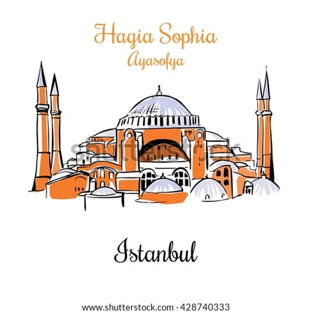Vector card with a silhouette of the Higia Sophia in Istanbul. Touristic card design. Hand drawn illustration of famous turkish landmark. Black outlines, orange and blue elements. - stock vector