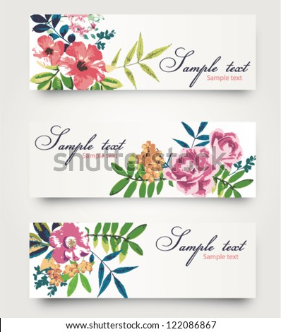 vector card with cute tropical flower,floral - stock vector