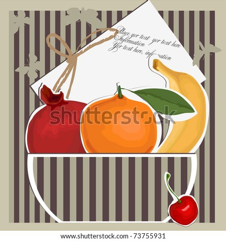 Vector card with fruits - stock vector
